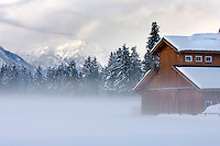 Barn in winter in the Methow Valley Washington USA