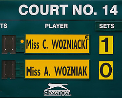 LONDON, ENGLAND - Thursday, June 26, 2008: The scoreboard records Caroline Wozniacki's (DEN) second round match against Aleksandra Wozniak (CAN) on day four of the Wimbledon Lawn Tennis Championships at the All England Lawn Tennis and Croquet Club. (Photo by David Rawcliffe/Propaganda)