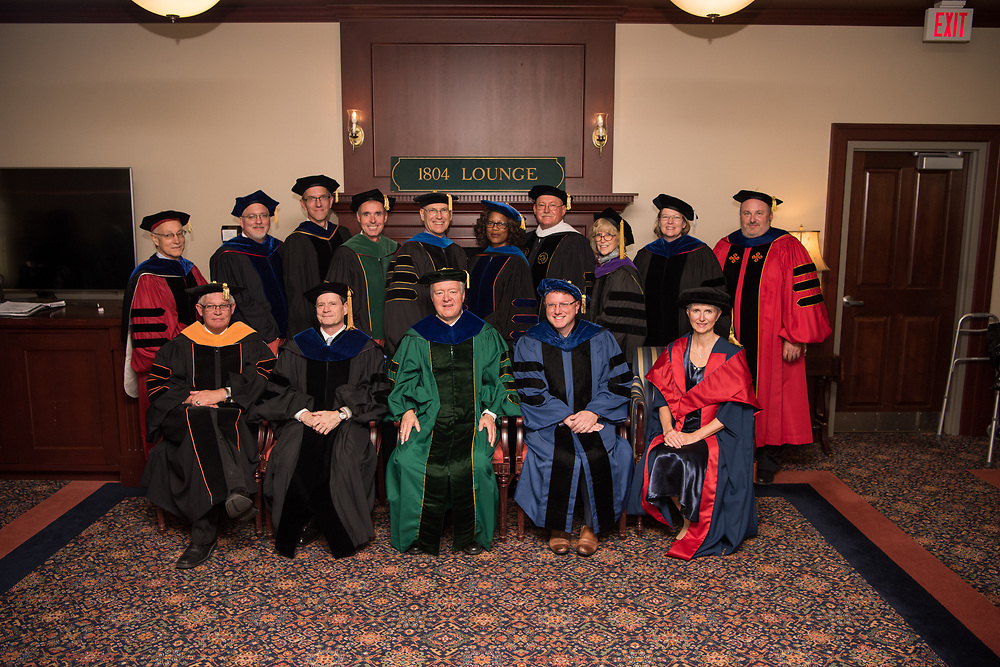 President Nellis with Ohio University deans prior to his investiture ceremony.