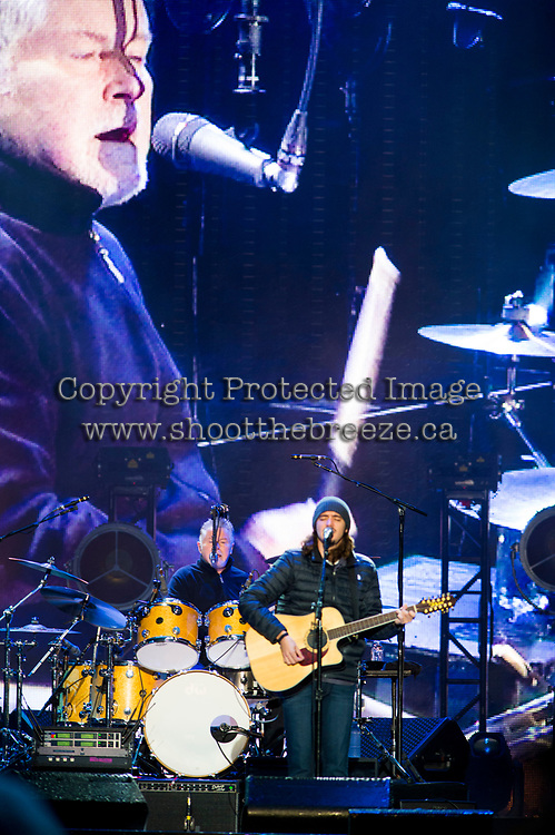 REGINA, SK - MAY 17: Don Henley of the Eagles plays the drums as Deacon Fry plays guitar during the opening ceremonies of the 2018 MasterCard Memorial Cup at Mosaic Stadium on May 17, 2018 in Regina, Canada. (Photo by Marissa Baecker/Shoot the Breeze)