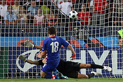 Goalkeeper of Turkey Recber Rustu and Ivica Olic of Croatia during the UEFA EURO 2008 Quarter-Final soccer match between Croatia and Turkey at Ernst-Happel Stadium, on June 20,2008, in Wien, Austria.  (Photo by Vid Ponikvar / Sportal Images)