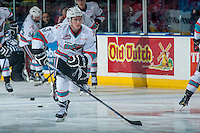 KELOWNA, CANADA - FEBRUARY 27: Riley Stadel #3 of Kelowna Rockets warms up against the Spokane Chiefs on February 27, 2016 at Prospera Place in Kelowna, British Columbia, Canada.  (Photo by Marissa Baecker/Shoot the Breeze)  *** Local Caption *** Riley Stadel;