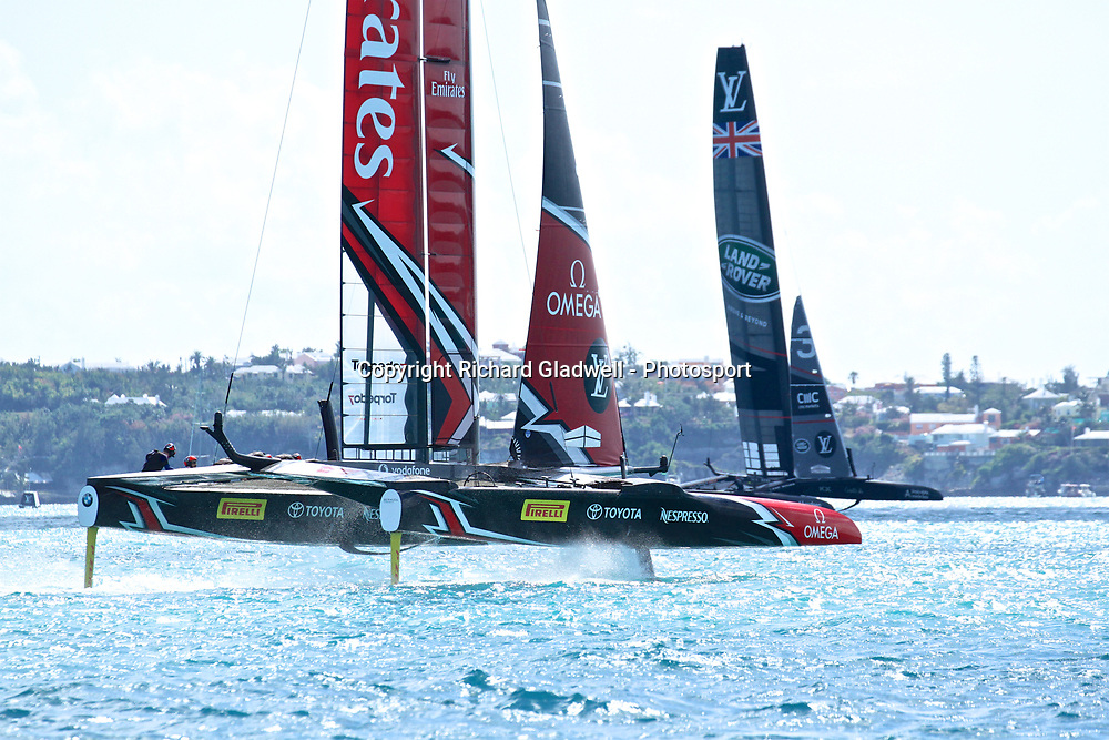 Race 11 - Emirates Team NZ heads upwind while Land Rover BAR is still on the downwind leg   - 35th America's Cup - Bermuda  May 28, 2017 . Copyright Image: Richard Gladwell / Sail World / www.photosport.nz