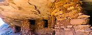"Panoramic image of the abandoned Anasazi ruins called ""House on Fire,"" in Mule Canyon, Comb Ridge, San Juan County, Utah, USA."