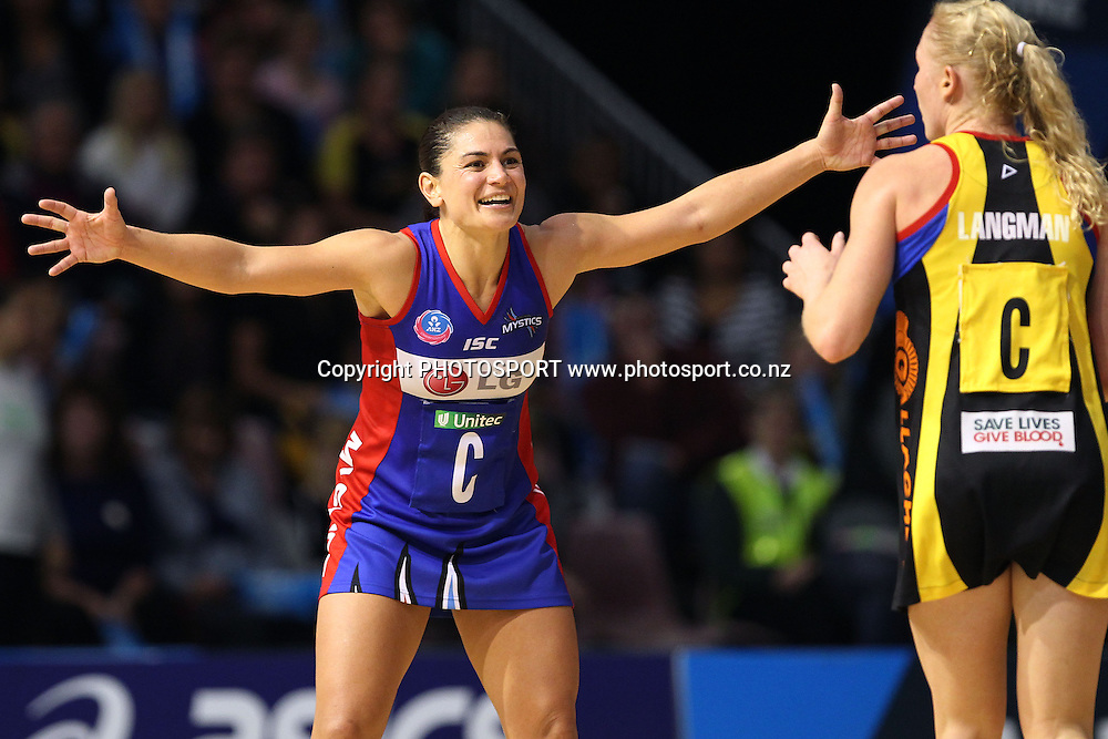 Mystics' Temepara George on defence. ANZ Netball Championship, Preliminary Final, Waikato/BOP Magic v LG Northern Mystics. Mystery Creek Events Centre, Hamilton, New Zealand. Sunday 15th May 2011. Photo: Anthony Au-Yeung / photosport.co.nz