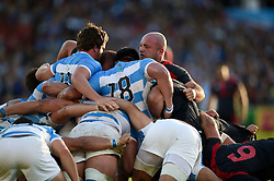 The front rows pop up at a scrum - Mandatory byline: Patrick Khachfe/JMP - 07966 386802 - 25/09/2015 - RUGBY UNION - Kingsholm Stadium - Gloucester, England - Argentina v Georgia - Rugby World Cup 2015 Pool C.