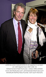 LORD & LADY WALDEGRAVE at a party in London on 12th September 2001.OSE 18