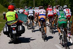Peleton and comisar at 1st stage of Tour de Slovenie 2009 from Koper (SLO) to Villach (AUT),  229 km, on June 18 2009, in Koper, Slovenia. (Photo by Vid Ponikvar / Sportida)