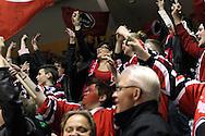 24.4.2013, Isometsän jäähalli, Pori..Jääkiekon SM-liiga 2012-13. Playoffsit, 6. loppuottelu, Ässät - Tappara.Ässä-fanit juhlivat.