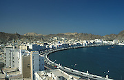 The bay of Muscat,capital of Oman,seen from the old fortress