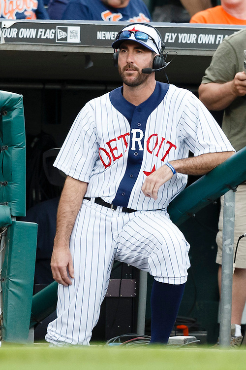 May 24, 2014; Detroit, MI, USA; Detroit Tigers starting pitcher Justin Verlander (35) takes part in the broadcast during the game against the Texas Rangers at Comerica Park. Mandatory Credit: Rick Osentoski-USA TODAY Sports