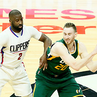 30 April 2017: LA Clippers guard Raymond Felton (2) defends on Utah Jazz forward Gordon Hayward (20) during the Utah Jazz 104-91 victory over the Los Angeles Clippers, during game 7 of the first round of the Western Conference playoffs, at the Staples Center, Los Angeles, California, USA.