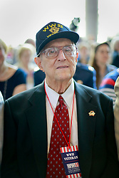 06 June 2014. The National WWII Museum, New Orleans, Lousiana. <br /> WWII veteran Sgt Julius Ouder, 120th Infantry, 30th Division is honored with the French Legion of Honor medal by French Consul General, Claude Brunet..<br /> Photo; Charlie Varley/varleypix.com