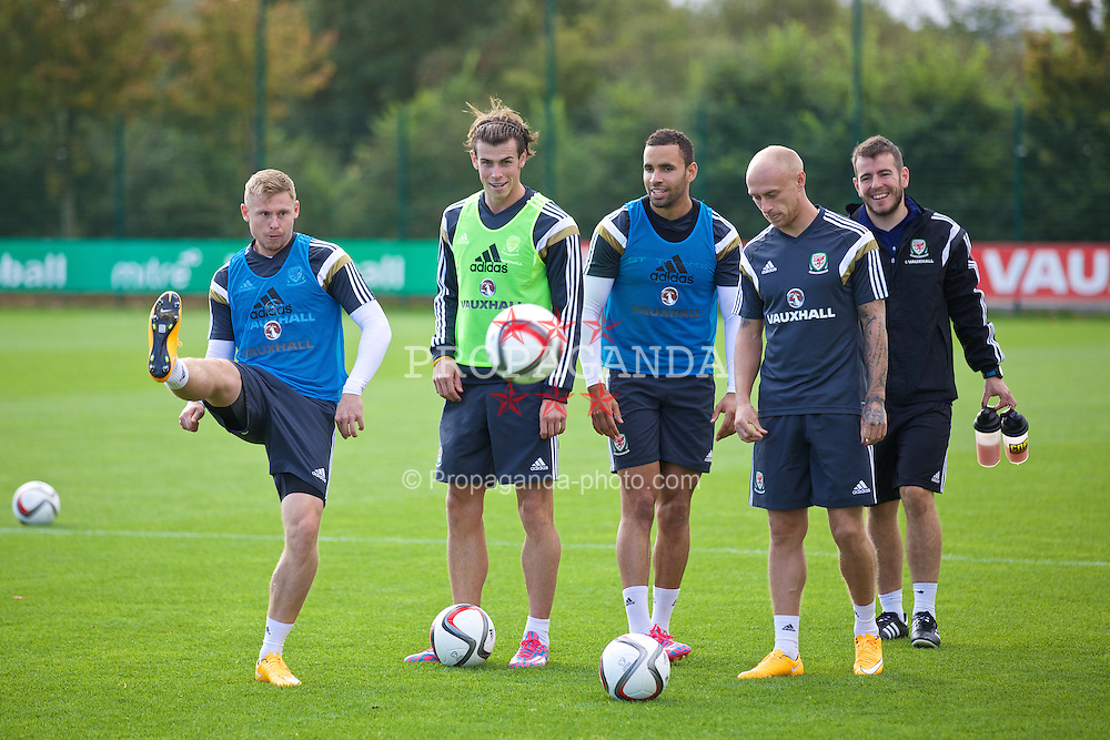 NEWPORT, WALES - Wednesday, October 8, 2014: Wales' Simon Church, Gareth Bale, Hal Robson-Kanu and David Cotterill training at Dragon Park National Football Development Centre ahead of the UEFA Euro 2016 qualifying match against Bosnia and Herzegovina. (Pic by David Rawcliffe/Propaganda)
