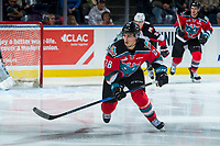 KELOWNA, CANADA - OCTOBER 28: Leif Mattson #28 of the Kelowna Rockets skates against the Prince George Cougars on October 28, 2017 at Prospera Place in Kelowna, British Columbia, Canada.  (Photo by Marissa Baecker/Shoot the Breeze)  *** Local Caption ***