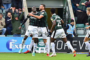 Goal - Freddie Ladapo (19) of Plymouth Argyle celebrates scoring a goal to give a 1-0 lead to the home team during the EFL Sky Bet League 1 match between Plymouth Argyle and AFC Wimbledon at Home Park, Plymouth, England on 6 October 2018.