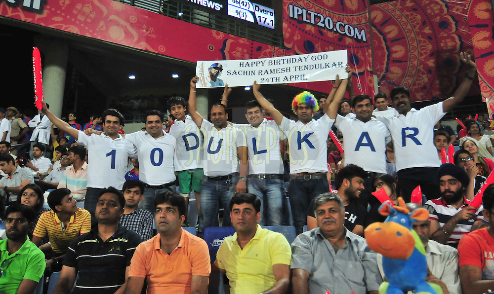 Fans during match 21 of the Pepsi IPL 2015 (Indian Premier League) between The Delhi Daredevils and The Mumbai Indians held at the Ferozeshah Kotla stadium in Delhi, India on the 23rd April 2015.<br /> <br /> Photo by:  Arjun Panwar / SPORTZPICS / IPL