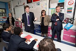 © Licensed to London News Pictures. 17/09/2012. London, UK.  Secretary of State for Education Michael Gove and Deputy Prime Minister Nick Clegg speaking to children at a visit to Burlington Danes Academy in West London on September 17, 2012. The education secretary has announced plans to launch a non-tiered new exam system that will replace GCSEs after the next general election in 2015. Photo credit : Ben Cawthra/LNP