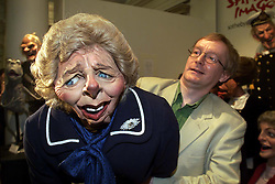 Sothebys to sell cast of satirical TV show Spitting Image. Photo shows Maggie Thatcher with Steve Nallon who did Thatchers voice in the show, July 7, 2000. Photo by Andrew Parsons / i-images.<br />