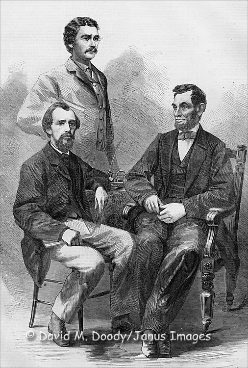 Civil War: President Abe Lincoln with his secretaries. Harper's Weekly June 11, 1864