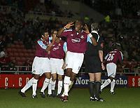 Photo: Andrew Unwin.<br />Sunderland v West Ham United. The Barclays Premiership.<br />01/10/2005.<br />West Ham's Marlon Harewood (C) celebrates Yossi Benoyoun's goal.