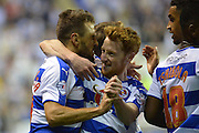 Reading's Carlos Orlando Sa and team mates celebrate Readings sec ond goal during the Sky Bet Championship match between Reading and Ipswich Town at the Madejski Stadium, Reading, England on 11 September 2015. Photo by Mark Davies.