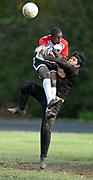 10/21/09 1Soccer<br /> ML0589H<br /> Soccer, 1st half, Platt Technical High School, Milford: Platt's Jacob Hudson left and Bullard Haven's goalkeeper Jefferson Rodas collide. It was not a foul. Photo by Mara Lavitt