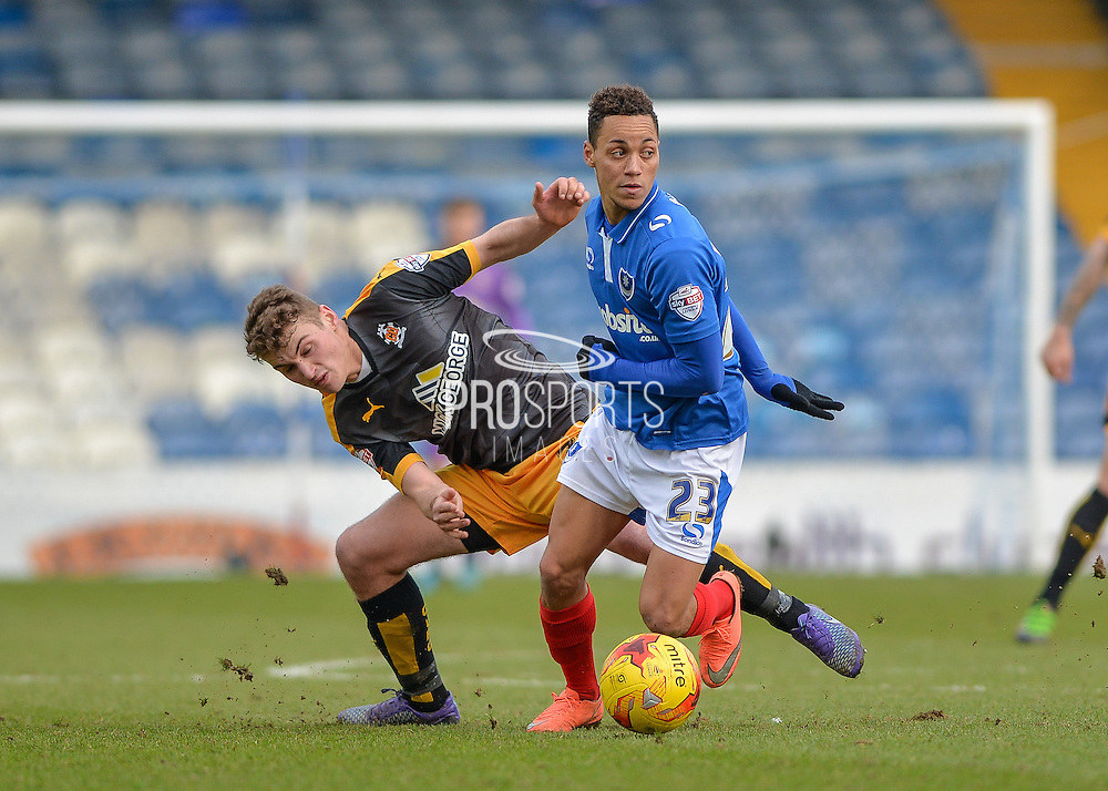 Portsmouth midfielder Kyle Bennett and Cambridge United Midfielder Ryan Ledson during the Sky Bet League 2 match between Portsmouth and Cambridge United at Fratton Park, Portsmouth, England on 27 February 2016. Photo by Adam Rivers.