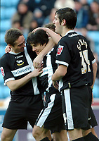 Photo: Ed Godden.<br />Coventry City v Derby County. Coca Cola Championship. 21/01/2006.  <br />Paul Peschisolido (C) celebrates with his Derby team mates, after scoring the opening goal.