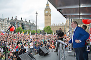 Len McCklusky, general secretary of Unite the union, speaking at the People's Assembly Against Austerity 'End Austerity Now' demonstration attended by over 250,000 people on Saturday 20th of June 2015 sending a clear message to the Tory government; demanding an alternative to austerity and to policies that only benefit those at the top. London, UK.
