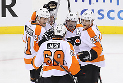 May 3, 2012; Newark, NJ, USA;  The Philadelphia Flyers celebrates a goal by Philadelphia Flyers center Brayden Schenn (10) during the first period in game three of the 2012 Eastern Conference semifinals at the Prudential Center.