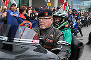 Old and young bikers arrive during the Soldier F Protest at Media City, Salford, United Kingdom on 18 May 2019.
