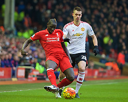 LIVERPOOL, ENGLAND - Sunday, January 17, 2016: Liverpool's Mamadou Sakho in action against Manchester United during the Premier League match at Anfield. (Pic by David Rawcliffe/Propaganda)
