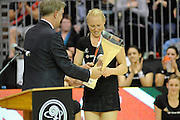 Laura Langman accepts the Trophy for the Silver Ferns, during New World Netball Series, New Zealand Silver Ferns v England at The ILT Velodrome, Invercargill, New Zealand. Thursday 6 October 2011 . Photo: Richard Hood photosport.co.nz