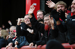 Bristol City fans cheer as Richard O'Donnell of Bristol City saves a penalty  - Mandatory by-line: Dougie Allward/JMP - 16/04/2016 - FOOTBALL - Griffin Park - Brentford, England - Brentford v Bristol City - Sky Bet Championship