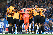 Wolverhampton Wanderers in their pre match huddle during the Premier League match between Everton and Wolverhampton Wanderers at Goodison Park, Liverpool, England on 1 September 2019.