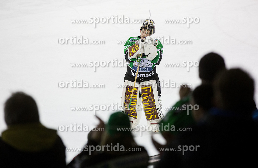 25.01.2015, Hala Tivoli, Ljubljana, SLO, EBEL, HDD Telemach Olimpija Ljubljana vs EHC Liwest Linz, 43. Runde, in picture Tomaz Trelc (HDD Telemach Olimpija, #95 celebrates after the Erste Bank Icehockey League 43. Round between HDD Telemach Olimpija Ljubljana and EHC Liwest Linz at the Hala Tivoli, Ljubljana, Slovenia on 2015/01/25. Photo by Vid Ponikvar / Sportida