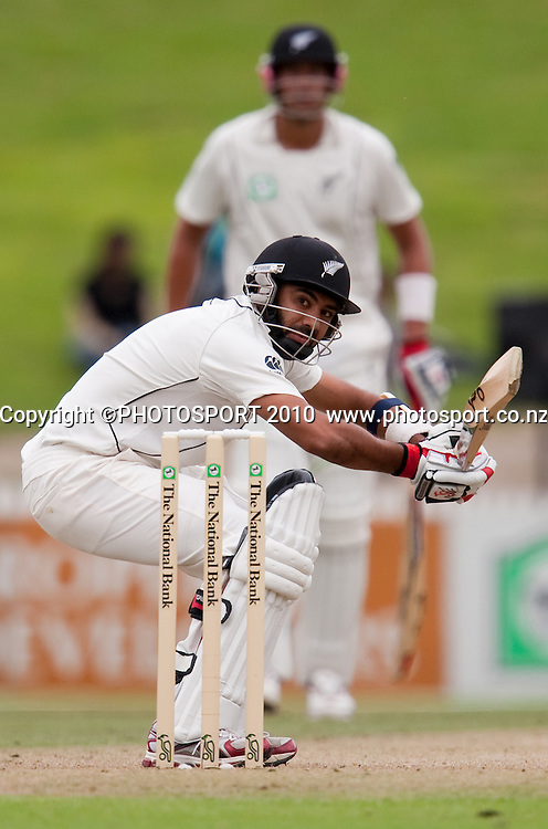 Jeetan Patel ducks a bouncer from Rubel Hossain on day 2 of the one off test cricket match between New Zealand Black Caps and Bangladesh at Seddon Park, Hamilton, New Zealand, Tuesday 16 February 2010. Photo: Stephen Barker/PHOTOSPORT