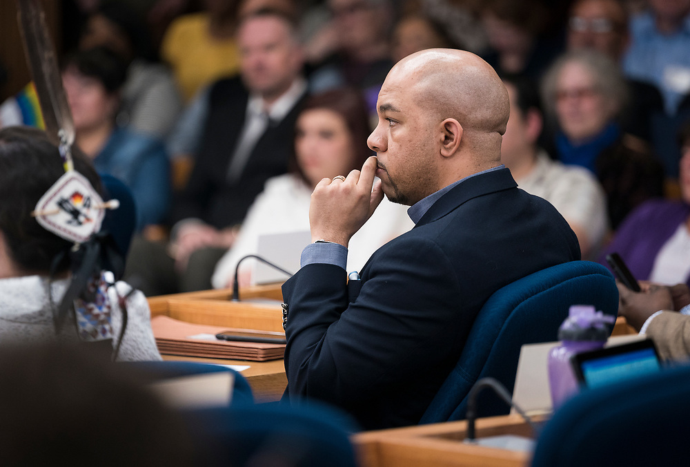 Maurice Cheeks, Alder District 10, looks on before the swearing in ceremony for Satya Rhodes-Conway and newly elected Alders at the City County Building in Madison, WI on Tuesday, April 16, 2019.