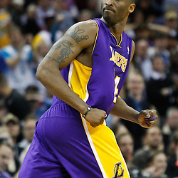 February 5, 2011; New Orleans, LA, USA; Los Angeles Lakers shooting guard Kobe Bryant (24) reacts to an official during the fourth quarter of a game against the New Orleans Hornets at the New Orleans Arena. The Lakers defeated the Hornets 101-95.  Mandatory Credit: Derick E. Hingle