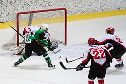 Gal Zidan of Olimpija vs Jure Pavlic of Olimpija during Erste Bank Young Stars League ice hockey match between HD Jesenice Mladi and HK Olimpija, on November 4, 2012 in Ledena dvorana Bled, Bled, Slovenia. (Photo by Matic Klansek Velej / Sportida.com)