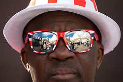 © Licensed to London News Pictures. 03/04/2019. London, UK. The Houses of Parliament are reflected in a pro-Brexit demonstrator's sunglasses. Yesterday evening British Prime Minister Theresa May made a statement in Downing Street offering to go into talks with Leader of the Labour Party Jeremy Corbyn, following the announcement of a request for an extension to article 50, thereby delaying Britain leaving the European Union. Photo credit : Tom Nicholson/LNP