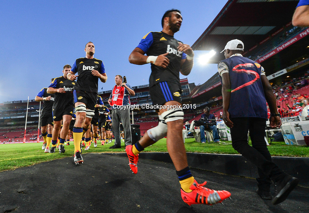 The Hurricanes come in from the warm up during the 2015 Super Rugby rugby match between the Lions and the Hurricanes at Ellis Park in Johannesburg, South Africa on February 13, 2015 ©Barry Aldworth/BackpagePix