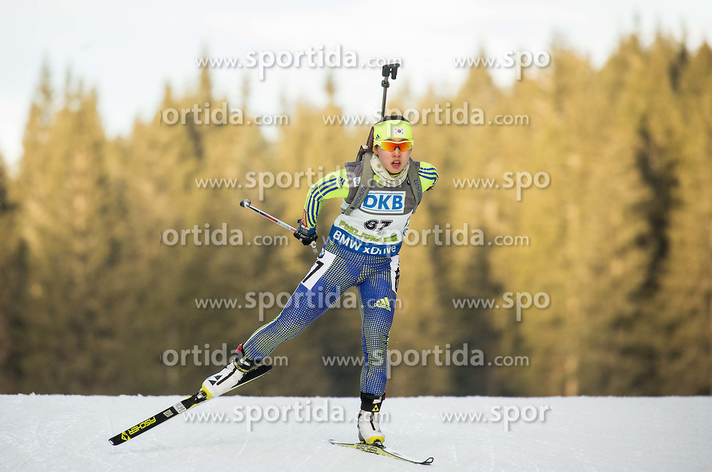Eunjung Ko (KOR) competes during Women 7,5 km Sprint at day 2 of IBU Biathlon World Cup 2015/16 Pokljuka, on December 18, 2015 in Rudno polje, Pokljuka, Slovenia. Photo by Vid Ponikvar / Sportida