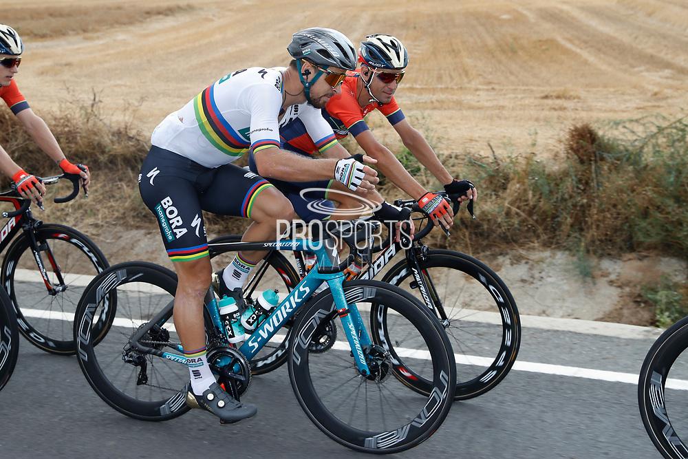 Peter Sagan (SVK - Bora - Hansgrohe) and Vincenzo Nibali (ITA - Bahrain - Merida) during the 73th Edition Tour of Spain, Vuelta Espana 2018, stage 10 cycling race, Salamanca - Fermoselle Bermillo de Sayago 177 km on September 4, 2018 in Spain - Photo Luis Angel Gomez / BettiniPhoto / ProSportsImages / DPPI