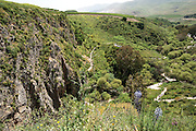 Israel, Upper Galilee, Iyyon River Nature reserve The chalk cliffs. Spring April