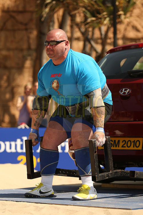 Kostiantyn Ilin (Ukraine) takes up his position in the deadlift (for time) during one of the qualifying rounds of the World's Strongest Man competition held in Sun City, South Africa.