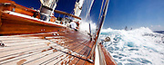 Sailing onboard Rebecca at The Superyacht Cup regatta, Antigua 2010, race 2.