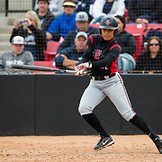 12 May 2018: San Diego State outfielder Kiera Wright seen here during an at bat in the sixth inning. San Diego State women's softball closed out the season against Utah State with a 4-3win on seniors day and sweep the series. <br /> More game action at sdsuaztecphotos.com