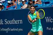 Svetlana Kuznetsova (RUS) hits a backhand to Ashleigh Barty (AUS) during the Western and Southern Open tennis tournament at Lindner Family Tennis Center, Saturday, Aug 17, 2019, in Mason, OH. (Jason Whitman/Image of Sport)